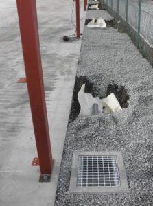 東京都下倉庫敷地内雨水桝設置